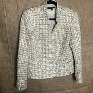 Lafayette 148 Yellow Blazer Jacket Textured Tweed